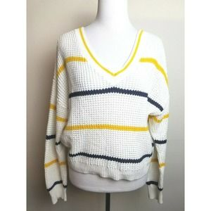 BP Sweater Pullover S V-Neck Crop Boxy Stripe